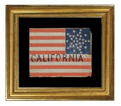 "31 stars arranged in a rare variation of the ""Great Star"" pattern, with the word ""California"" painted in the stripes. A pre-Civil War flag. California Statehood, 1850-1858."