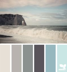 Ocean grays and blues-I like the dark gray and the second blue from the left.
