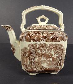 Antique Mason's Ironstone China Brown Vista Pattern Teapot Tea Kettle & Lid #Masons
