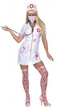 blutige Krankenschwester : Kleid, Haube und Mundschutz Verkleidungen + Kostüme Horror & Halloween