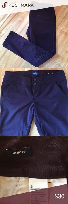 American Eagle Skinny Pants In excellent condition, worn only a few times!  Deep eggplant color skinny pants from American Eagle. Purchased before getting pregnant and now they no longer fit. 97% cotton, 3% elastane. American Eagle Outfitters Pants Skinny