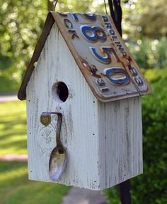Rustic Spoon Birdhouse -License plate Birdhouse