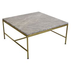 Pre-Owned Paul McCobb Marble & Brass Coffee Table ($2,695) ❤ liked on Polyvore featuring home, furniture, tables, accent tables, brass cocktail table, grey table, white accent table, grey coffee table and white marble coffee table