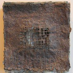 Dark Portal 4 by Claudia Lee. Handmade paper of Belgian flax with indigo and black walnut dye, hand-stitched linen thread, twigs. Paperclay, Assemblage Art, Fabric Art, Medium Art, Art Techniques, Textile Art, Collage Art, Fiber Art, Indigo