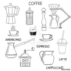 Coffee doodle collection. Hand drawn vector illustration.