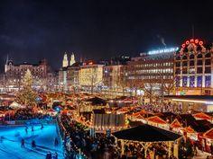 """Zurich's """"Wienachtsdorf"""" at Sechseläutenplatz Geneva City, Calvin Harris Summer, Switzerland Bern, Christmas Destinations, Lake Zurich, Northern Italy, Holiday Travel, Solo Travel, Old Town"""