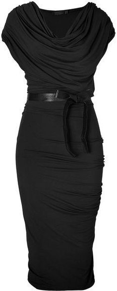 Beautiful Dress Donna Karan New York Black Black Draped Jersey Dresswith Belt so absolutely stunning!!!