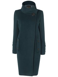 пальто Trench Coat Style, Funnel Neck, High Neck Dress, Wool, Dark, Coats For Women, Green, Chic, Jackets