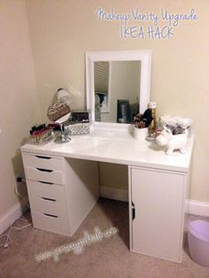 The Stunning White Vanity Table IKEA with New Makeup Desk For Mediy Makeup Vanity Desk Set Up Alex is one of pictures of furniture design ideas for your ho Ikea Hacks Makeup Vanity, Ikea Hack Vanity, Makeup Vanity Set, Makeup Vanities, Makeup Storage, Diy Makeup Desk, Makeup Hacks, Hair Hacks, Makeup Ideas