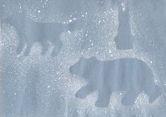 "Polar Bear Arctic Animals Kids Craft.  You will need: 1 sheet of light blue construction paper   Arctic animal template cutouts (from ""Arts and Crafts For All Seasons"", or make your own), white tempura paint, and a toothbrush"