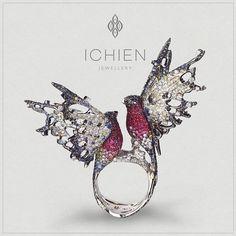 Much anticipated #Bullfinches #ring with #diamonds, #sapphires, #rubies and #enamel. See the video of this ring on ichien.ru #Кольцо #Снегири. #Бриллианты, #сапфиры, #рубины, #эмаль. Смотрите видео изделия на ichien.ru