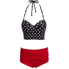 2de5617e81 New Sexy High Waisted Plus Size Dot Halter Push Up Bikini Set Swimwear