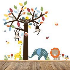 Modern Wall Vinyl Decals, Patterned Leaf Tree Decal, Vinyl Decals, Nursery Wall Art, Boys Nursery Decals, Jungle Wall Art, Jungle Theme