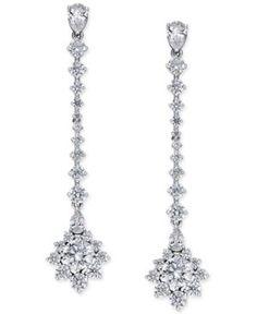 Danori Silver-Tone Cubic Zirconia Bliss Linear Earrings, Only at Macy's - Silver