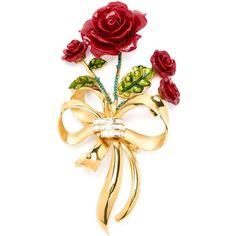 Dolce & Gabbana rose bouquet brooch ($555) ❤ liked on Polyvore featuring jewelry, brooches, metallic, red brooch, rose gold tone jewelry, rose brooch, red jewelry and gold tone jewelry