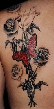 88e4ac3969a73 Red butterfly and black roses tattoo. Awesome tattoos | tattoos picture black  rose tattoo Great