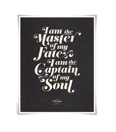 INVICTUS on black  typography art print