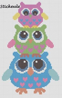 Owls Cross Hama perler pattern by bethina.kristensen.10