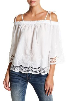 9cceb230c03fa Cold Shoulder Embroidered Eyelet Blouse Shirt Blouses