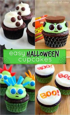 Easy Halloween Cupcake Ideas Your Cup Of Cake inside size 2212 X 3318 Decorating Mini Cupcakes For Halloween - Putting together a Halloween party could be Halloween Cupcakes Decoration, Halloween Cupcakes Easy, Halloween Sweets, Halloween Goodies, Halloween Food For Party, Halloween Birthday, Easy Halloween, Haloween Cakes, Candy Decorations