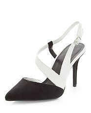 Black Contrast Asymmetric Strap Pointed Heels | New Look