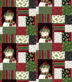 Cotton Quilt Fabric Susan Winget Snowman Cardinal Patch Christmas - product images  of
