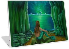 Laptop Skin,  mermaid,fantasy,green,unique,cool,beautiful,trendy,artistic,unusual,accessories,ideas,design,items,products,for sale,redbubble