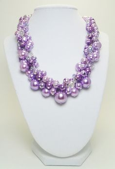Lilac/lavender Pearl Cluster Necklace Shades of lilac by Eienblue