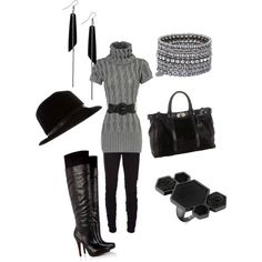 gray and black, only i would skip the hat and the ring :)