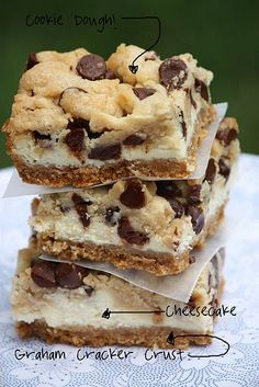 Chocolate chip cookie dough cheesecake bars... Best combination of desserts ever?