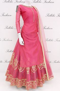 Trendy Pink Soft Chanderi Silk Jacket Style Outfit with Elegant Work Indian Gowns Dresses, Pakistani Dresses, Long Dresses, Indian Wedding Outfits, Indian Outfits, Ethnic Outfits, Indian Designer Outfits, Designer Dresses, Lehenga Designs