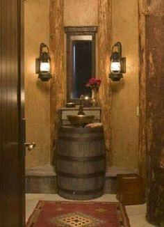 Whiskey Barrel sink for powder bath