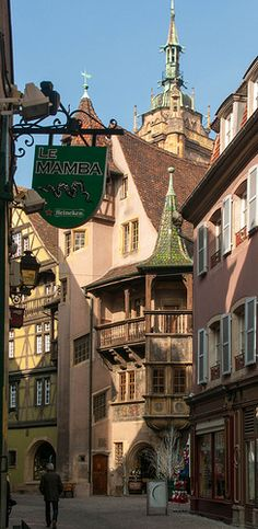 Under the sign of Le Mamba, Colmar, Alsace, France. This is the region of France my family is from Places Around The World, The Places Youll Go, Travel Around The World, Places To See, Around The Worlds, Wonderful Places, Great Places, Beautiful Places, Belle France