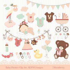 "Baby Shower Clip Art - ""BABY SHOWER"" Clip Art. Baby Girl.Birth Announcement. Baby Shower Invitation. Banners. Teddy Bear. Commercial Use by MoonberryDigitalArt on Etsy https://www.etsy.com/uk/listing/220589632/baby-shower-clip-art-baby-shower-clip"