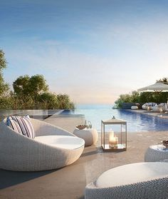 Dream Pools :: Tropical Home :: Decor + Design Inspiration :: Dive In :: Cool Off :: Free Your Wild :: See more Untamed Poolside Paradise Inspiration Outdoor Spaces, Outdoor Living, Outdoor Decor, Outdoor Pool Furniture, Outdoor Chairs, Interior Exterior, Exterior Design, Piscina Hotel, Pool Pool