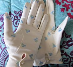 Vintage gloves with embroidered cherries and pearl button