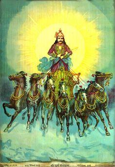 Surya Narayan an Early Lithograph/Oleograph by Ravi Varma Press. Indian Gods, Indian Art, Ravivarma Paintings, Photo Art Gallery, Mudras, Vedic Astrology, Durga Goddess, Hindu Deities, Sacred Art