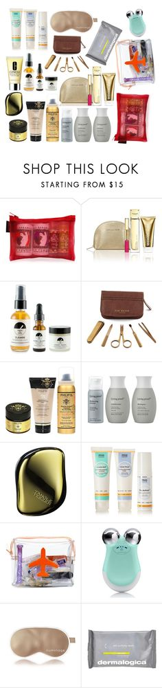 """Travel Kit Favorites"" by marinasays ❤ liked on Polyvore featuring beauty, Lulu Organics, Michael Kors, EARTH TU FACE, Philip B, Living Proof, Tangle Teezer, Mio, Emma Lomax and NuFace"