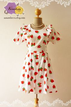 Strawberry Girly Dress White with Red Strawberry Fruity Party Tea Dress Vintage Inspired Fruit Dress Sleeve Dress-Size S- on Etsy, $49.00