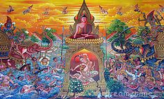 Thai Art Drawing | Traditional Thai painting art about buddist story on temple wall in ...