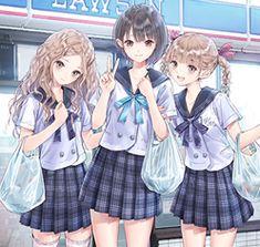 Manga Anime Girl, Anime Neko, Kawaii Anime Girl, Anime Guys, Best School Anime, Anime School Girl, Anime Best Friends, Friend Anime, Anime Sisters