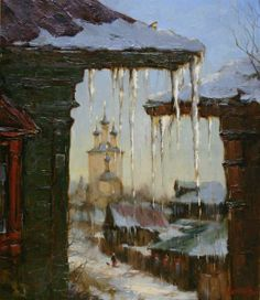 Spring is coming by Russian artist, Stepan Nesterchuk Russian Painting, Russian Art, Exotic Art, Post Impressionism, Impressionist Paintings, Nature Paintings, Winter Landscape, Winter Scenes, Fine Art
