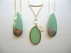 Light Green Gold Necklace with Large Oval Stone Pendant And Leaf Charm - Modern, Boho Style - Eclectic Long Jewelry on Etsy, $39.00