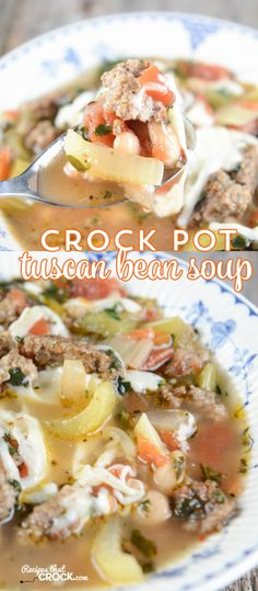 Crock Pot Tuscan Bean Soup is a flavorful Italian inspired recipe that is perfect for the slow cooker whether it is for family dinner or a potluck.