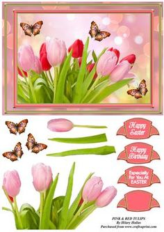 Pink Red Tulips on Craftsuprint designed by Hilary Hallas - An A5 tentfold card front with decoupage layers and choice of sentiments featuring a bunch of beautiful red and pink tulips with pretty butterflies and bokeh background. Matching insert available separately. - Now available for download!