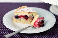 Triple Berry Danish Cheesecake ~ thin cheesecake layer on top of a layer of fresh berries over a thin layer of cake...delicious | Shauna Sever