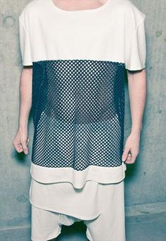 Oversize top with big mesh panel