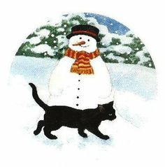 Chrissie Snelling - Snowman and Black Cat
