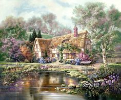 2016 New ୧ʕ ʔ୨ Rushed Diy Mosaic inlay Painting Full Whole ༼ ộ_ộ ༽ Square Drill Art Diamond Embroidery Cross Stitch Lake House 2016 New Rushed Diy Mosaic inlay Painting Full Whole Square Drill Art Diamond Embroidery Cross Stitch Lake House Thomas Kinkade, Painting & Drawing, Watercolor Paintings, Belle Image Nature, Storybook Cottage, Home Art, Countryside, Fantasy Art, Scenery