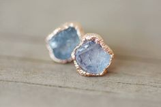 Romantic Gift Jewelry For Her: rose gold stud earrings, girlfriend jewelry ideas, simple rose gold earrings, raw sapphire rough dainty
